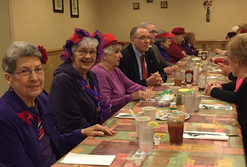 Ricardo's Restaurant hosting a small private luncheon party of 25 diners for the Red Hat Society.